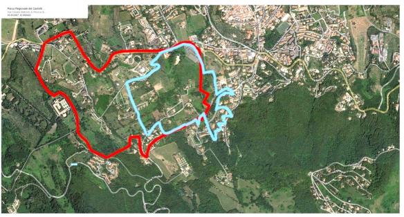 zona vincolata dal decreto regio del 42 (in rosso) e sovrapposizione del comprensorio del progetto di cui sopra (in blu)