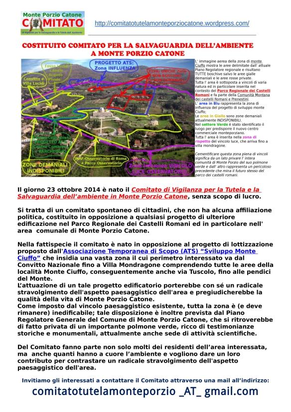 Volantino di Presentazione del Comitato di Salvaguardia e Difesa dell' Ambiente in Monte Porzio Catone