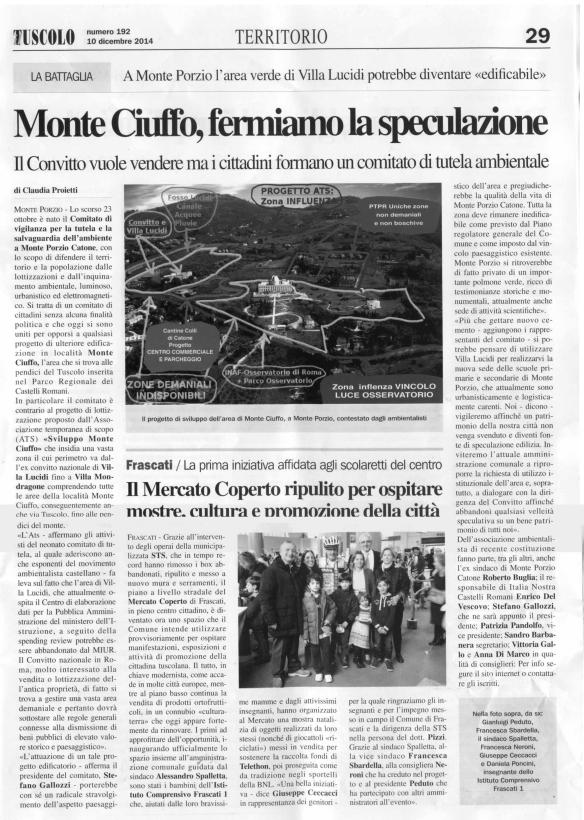 """Estratto della pag. 29 del giornale locale """"Il Tuscolo del 10/12/2014"""""""