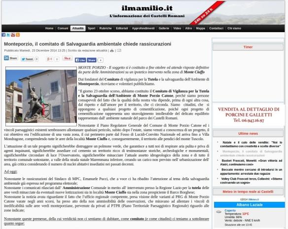 testata dell' articolo sul comitato pubblicato in data odierna sul Mamilio.it