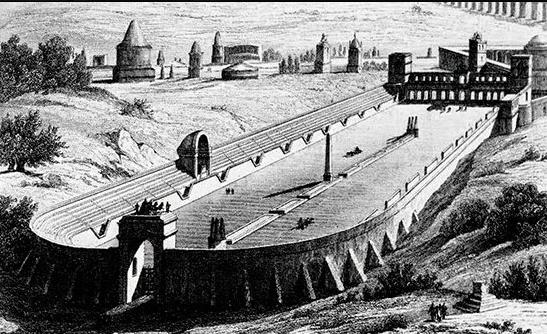 ricostruzione artistica del circo della villa di Cesare e Masenzio un sito archeologico per grandezza secondo solo a Villa Adriana e che è stato al centro di una tentata opera di speculazione edilizia.