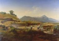 immagine pittorica del teatro del Tuscolo di Gustaf Wilhelm Palm